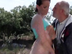 old grandpa fucks youthful bitch outdoor