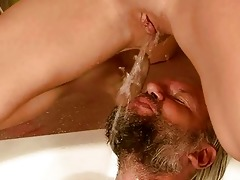 old man and beauty pissing and fucking
