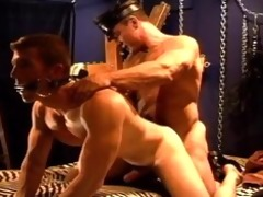 hot muscle dad rides his sexy muscle bottom boy,