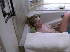 i caught friends sister having fun in tub and she