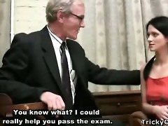 pretty juvenile student enticed by an old fart