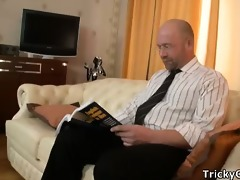 hot missy pounded wildly on teachers couch.