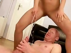 granddad fucking and peeing on young beauty