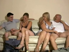 mother and daughter jerking two boyz off