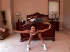 father helps step-daughter - yoga