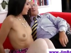 playgirl in stockings sucks old man