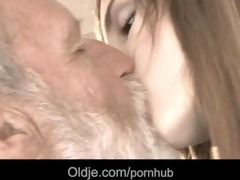 bearded grand-dad cum in tina's juvenile throat