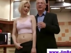blond does striptease for old man