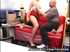young girlfriend sucks and copulates an old guy